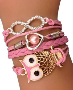 Light Pink Owls and Rhinestones Arm Party Bracelet