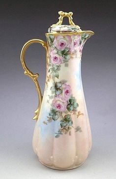 Antique Limoges GDA France Signed Hand Painted Chocolate Pot C 1908 Description We are pleased to offer this a fabulous a porcelain Chocolate Pot. Hand painted. Made in France. Condition It is in Ver