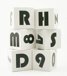 Mod Wooden ABC Blocks modern wood baby gift retro gray nursery decor - set of 6. $27.00, via Etsy.