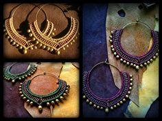 Joyería tribal Macrame / pendientes aro / Macrame pendientes / granos de cobre amarillo
