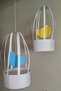 """DIY Hanging Birdcages - perfect for a Lovebirds Bridal Shower or a Nesting Baby Shower. Check out more shower ideas at """"Let's Party"""" on TwinsintheCities"""