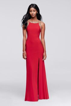 Long Embellished Party Dress With Side Slit - Red, XL