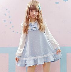 New Design 2015 Autumn Cute kawaii Dresses Long Lantern Sleeve Doll Collar Dress Bow Gauze Frill Preppy Style Flounced Dress >>> Want to know more, click on the image.