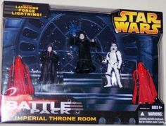 Star Wars EIII Revenge of the Sith Exclusive Deluxe Battlepack Action Figure Set Imperial Throne Room by Hasbro Toys. $13.86. This set includes Emperor Palpatine, Saga 2002 Royal Guard X2, Imperial Dignitary Janus, and a Stormtrooper. Star Wars Battlepacks lets you collect some of your favorite Star Wars action figures in themed assortments for a boxful of battling fun.    This set includes Emperor Palpatine, Saga 2002 Royal Guard X2, Imperial Dignitary Janus, and a Storm...