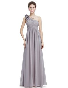 Ever Pretty Womens One Shoulder Ruched Padded Long Evening Dress 6UK Grey