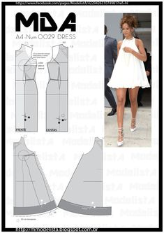 ModelistA: NUM 0028 TRAPEZE DRESSsábado, 14 de fevereiro de 2015 NUM 0028 TRAPEZE DRESS Now in the summer, how about a comfortable clothes but at the same time, elegant? For the trapeze dress can play this role very well. Dress Sewing Patterns, Clothing Patterns, Doll Clothes Patterns, Diy Clothing, Sewing Clothes, Fashion Sewing, Diy Fashion, Costura Fashion, Modelista