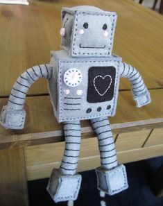 Happy Felt Robot made to order by StayTrueEmbroidery on Etsy