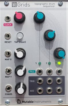 """Grids Algorithmic 3-channel drum pattern generator with progressive, CV-controlled morphing through patterns (Map X and Map Y controls), and CV-controlled control over the density/sparsity of the pattern (Fill controls).  Bonus features: internal clock with tap-tempo, input clock divider, """"vanilla euclidean sequencer"""" mode, bonus outputs (clock, reset, random pulses), DIY MIDI interface offering clock sync."""