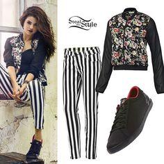selena gomez steal her style   Selena Gomez: Floral Bomber, Stripe Pants