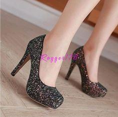 Womens Glitter Sequins Paillette Party Plus Size Shoes Round Toe High Heel Pumps