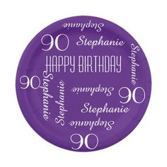 "Paper Plates, 90th Birthday Party, Repeating Names - Choose your background color - Name and Age repeats in white. This style defaults to a deep purple background, but you can click ""Customize""  to easily select a different background color. Easy to personalize - just change name, age, and occasion in one place. Classy, elegant, and modern. Matching napkins available at my zazzle store, SocolikCardShop*. All Rights Reserved © 2015 A&M Socolik."