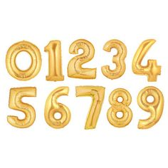 40 Gold Foil Mylar Number Balloon Petite by partysuppliesbypps