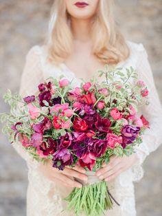 coral pink and purple boho wedding bouquet