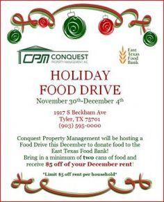 Food Drive @ Conquest Property Management! - Conquest Rentals
