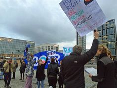 Demonstrators at an Obama rally in front of the Hauptbahnhof (main train station) in Berlin.
