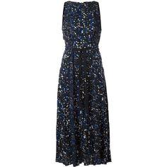 Proenza Schouler printed sleeveless dress (36,185 MXN) ❤ liked on Polyvore featuring dresses, black, sleeveless flare dress, zip back dress, print dress, mid calf dresses and flared dresses