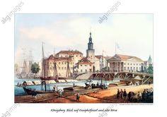 Königsberg 1845 Blick auf Kneiphofinsel und alte Börse. Lithographie von Johann Hübner nach einer Zeichnung von Gustav Mützel, 1845 J. Hübner