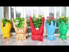 Absolutamente Increíble, macetas coloridas de bricolaje de toallas viejas y cemento - YouTube Old Towels, Garden Yard Ideas, Colorful Flowers, Flower Pots, Glass Vase, Drums, Amazing, Creative, Youtube