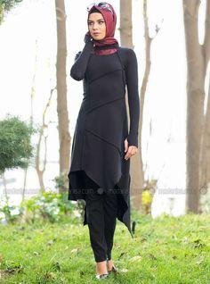 Stitched Tunic - Black - Tunics - Modanisa