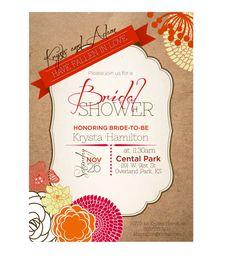 Rustic Fall Bridal Shower Invitation by PaisleyDayneDesigns, $12.00