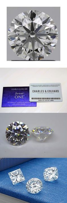 Synthetic Moissanite 110800: Charles And Colvard 9Mm Round Forever One Def Hearts And Arrows Moissanite Wcard -> BUY IT NOW ONLY: $699 on eBay!