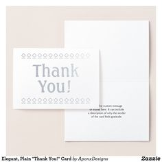 """Shop Elegant, Plain """"Thank You!"""" Card created by AponxDesigns. Thank You Greeting Cards, Thank You Greetings, Paper Envelopes, White Envelopes, Appreciation Cards, Colored Paper, Place Card Holders, Cards Against Humanity, Messages"""