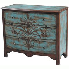 Hand-painted Distressed Walnut and Blue Finish Accent Chest | Overstock.com $590
