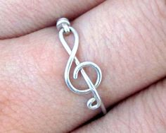 Treble Clef Ring - Music Ring, Argentium Silver Ring, Wire Wrapped Ring, Treble Clef Jewelry, Music Jewelry, Best Friend Rings on Etsy, $14.99