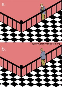 solutionThere are two possible ways to perceive the image: either above (fig. a) or below (fig. b) the viewer's eye level. These kinds of illusions are known as bistable or ambiguous figures.