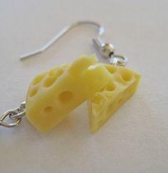 Cheese Wedge Earrings  Miniature Food Jewelry  by Artwonders, $7.00