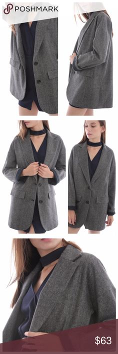 Dark Grey Tweed Over-Size Men's Style Coat Coat is a comfortable, over-size fit, with side flap pockets and a two-button front. Exterior is a wool blend tweed, and coat is fully lined with a traditional black lining fabric in the body and upper sleeves, and a navy denim accent fabric in the lower sleeves. EVIEcarche Jackets & Coats