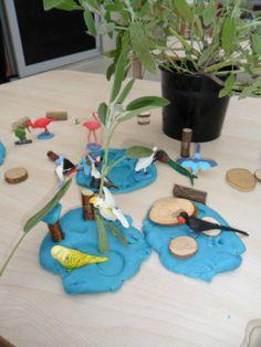 Exotic Birds, Sage, Woodchips & Blue Coconut Playdough @ New Horizons Preschool