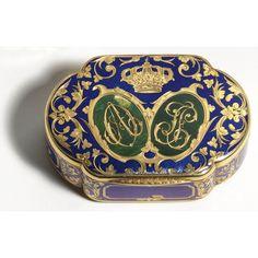 A Gold and Enamel Royal Presentation snuff box,  The ciphers are those of Antoine d'Orléans, duc de Montpensier and his bride Louise Ferdinande, daughter of Ferdinand VII, King of Spain..Louis-François Tronquoy, Paris, circa 1846.