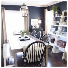 Feel Inspired With These Captivating Naval (SW 6244) Walls. Navy Dining  Rooms,