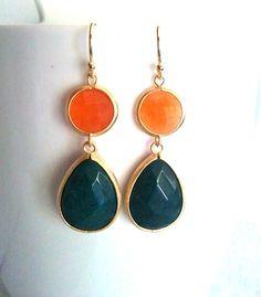 Orange and Dark Green Jade Gold Dangle earrings by LaLaCrystal