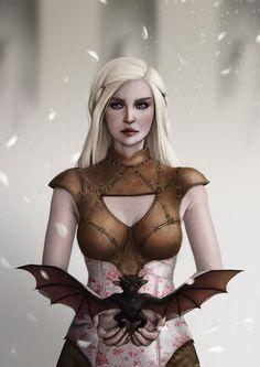 Beautiful Digital Illustration of Daenerys Targaryen by Laura Bermúdez This dragon is really weird