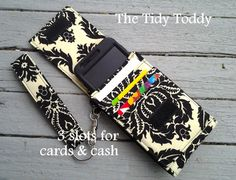 Create Your Own Tidy Toddy With Removable Wrist Strap,  Cell Phone iPhone iPod Smartphone Case with a place for cards and cash. $15.00, via Etsy.