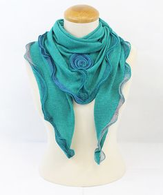 Look what I found on #zulily! Aqua Blue Rosette Contrast Scarf by Memories #zulilyfinds
