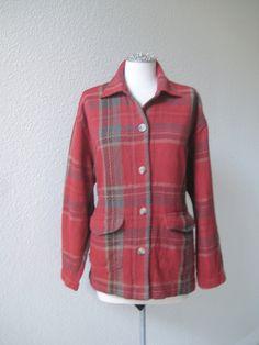 Meg vintage 80's over sized red plaid shirt/jacket