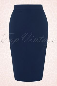 Collectif Clothing Polly Plain Blue Pencil Skirt