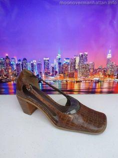 "Womens shoes ENZO ANGIOLINI brn leather croc 3"" heels Career Dress Pumps sz 7 M #EnzoAngiolini #PumpsClassics"