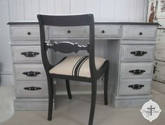 Farmhouse Chic Office / Computer Desk with Grain Sack Chair ~ Perfect Shabby Appeal