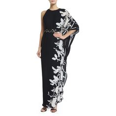 Halston Heritage One-Sleeve Printed Caftan Gown (9,875 MXN) ❤ liked on Polyvore featuring dresses, gowns, floral print evening gown, halston heritage gown, floral evening gown, sleeveless dress and floral gown