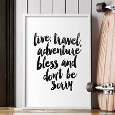 'Live Travel Adventure Bless' Typography Print
