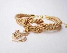 Ancla Náutica Plateado Red Stripe encanto pulsera de Sailor Jerry Pearl Nudo