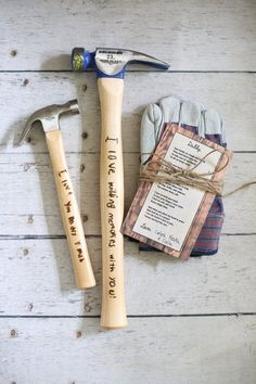 Father's Day Gift set personalized engraved hammer and handprint work gloves