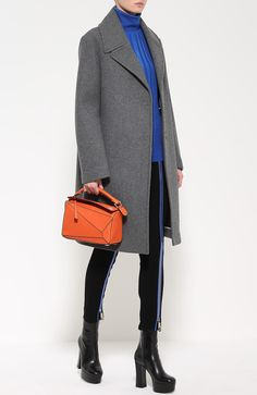 Шерстяное пальто прямого кроя DKNY, серого цвета, арт. N365005A4B в ЦУМ | Фото №2