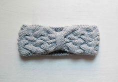 Knit braided headband ice blue knit ear warmer by TheHuggingYarn