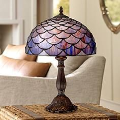 "Blue Shell Tiffany Style 18"" High Accent Table Lamp"