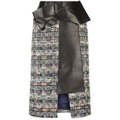 Alexander McQueen Tweed and Leather Pencil Skirt (£1,375) ❤ liked on Polyvore featuring skirts, bottoms, gonne, knee length pencil skirt, alexander mcqueen skirt, tweed pencil skirt, leather pencil skirt and fold-over maxi skirt